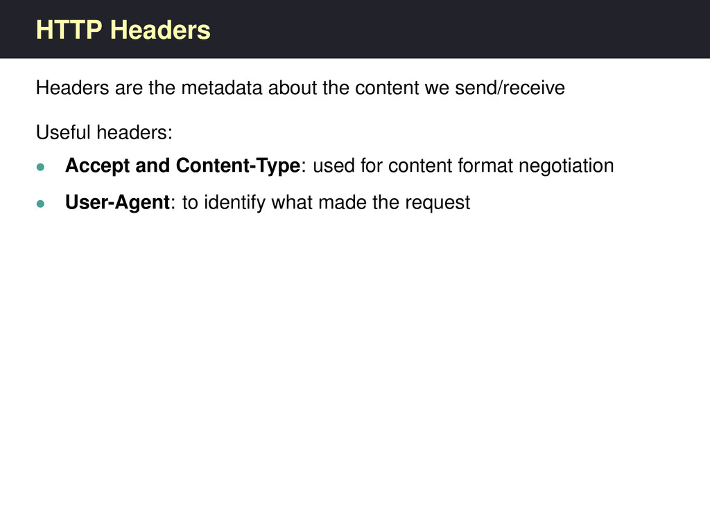 HTTP Headers Headers are the metadata about the...