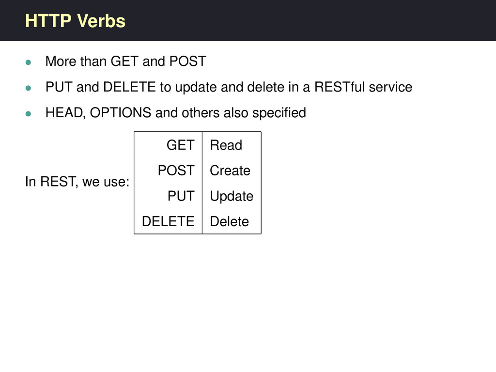 HTTP Verbs • More than GET and POST • PUT and D...