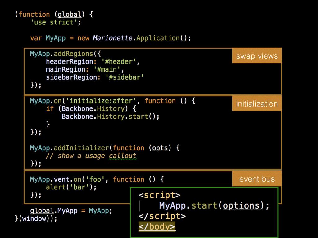 swap views initialization event bus