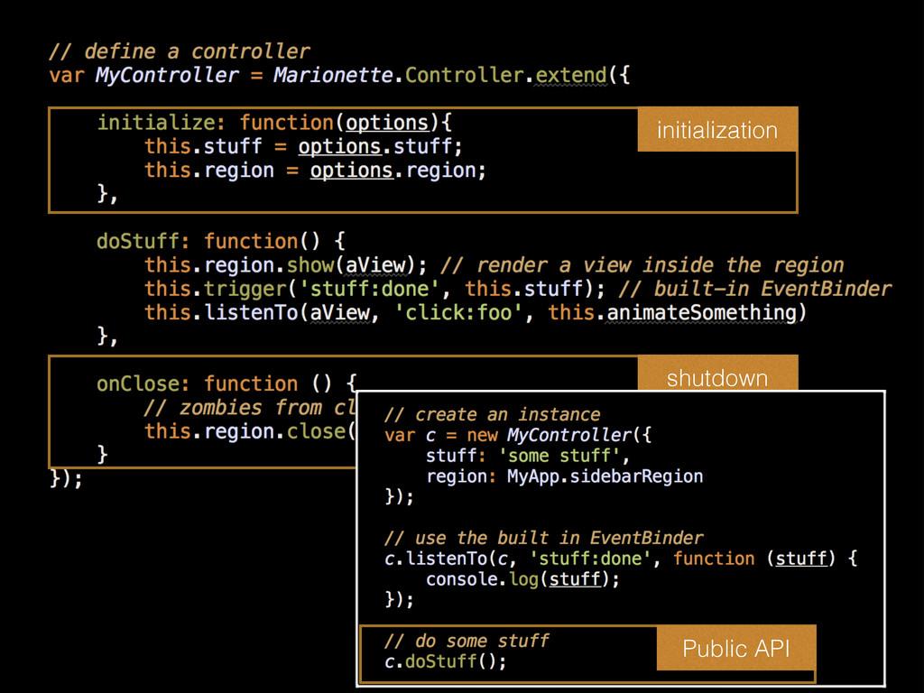initialization shutdown Public API