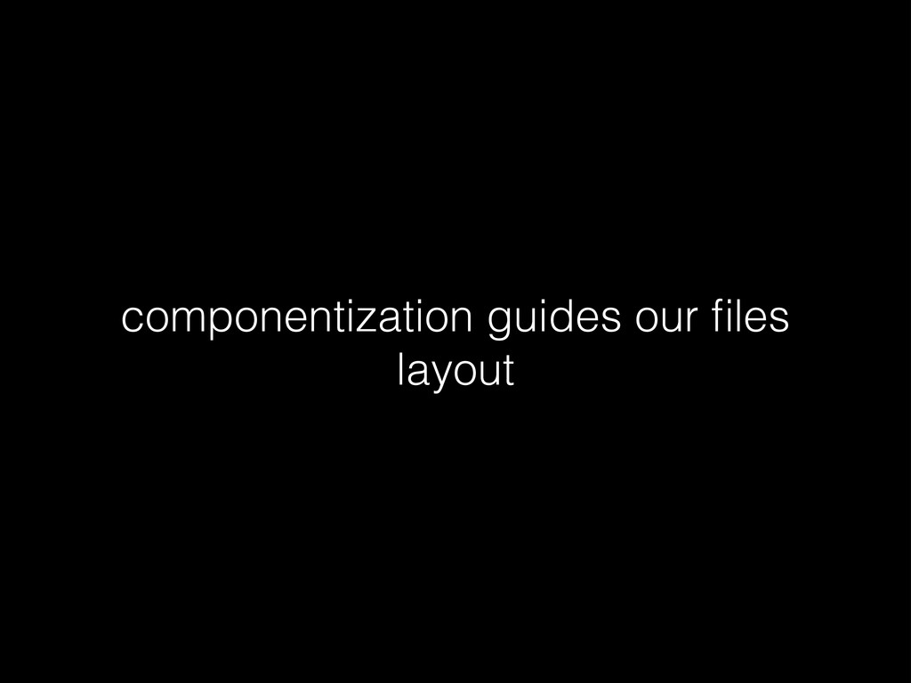 componentization guides our files layout