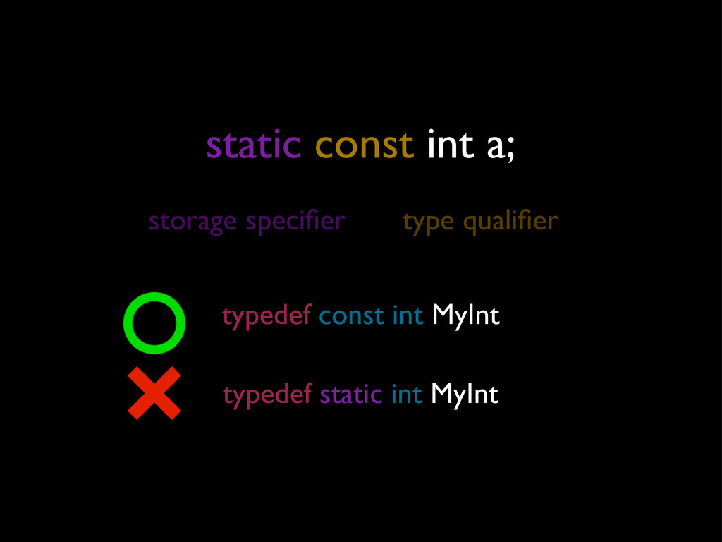 static const int a; storage specifier type quali...