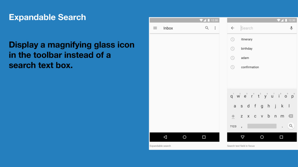 Expandable Search Display a magnifying glass ic...