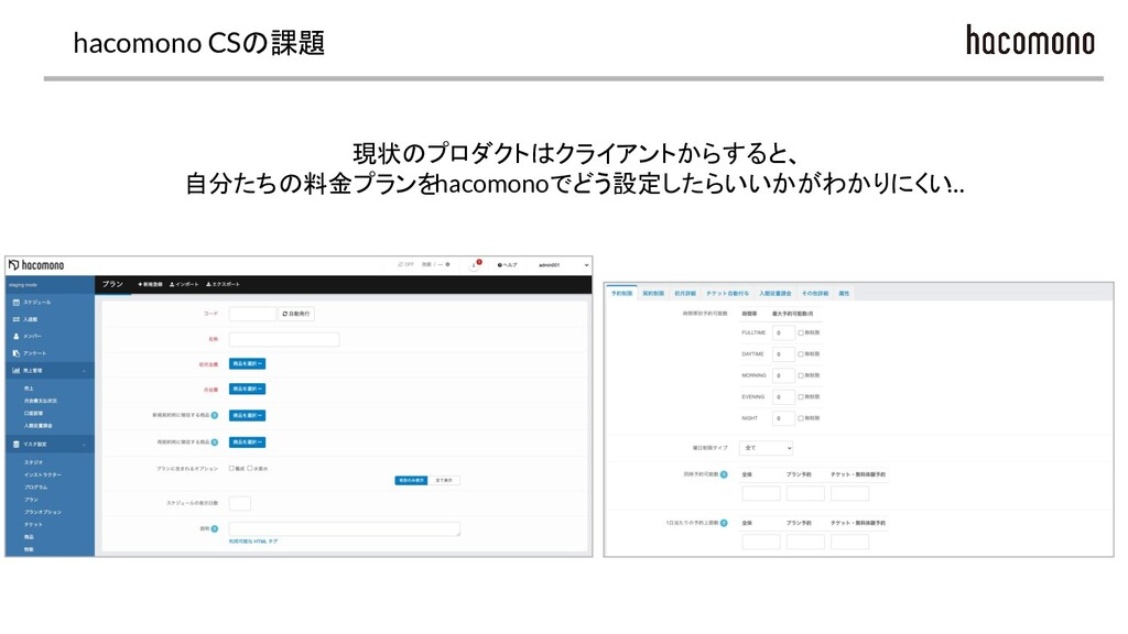 hacomono CSの課題 現状のプロダクトはクライアントからすると、 自分たちの料金プラン...