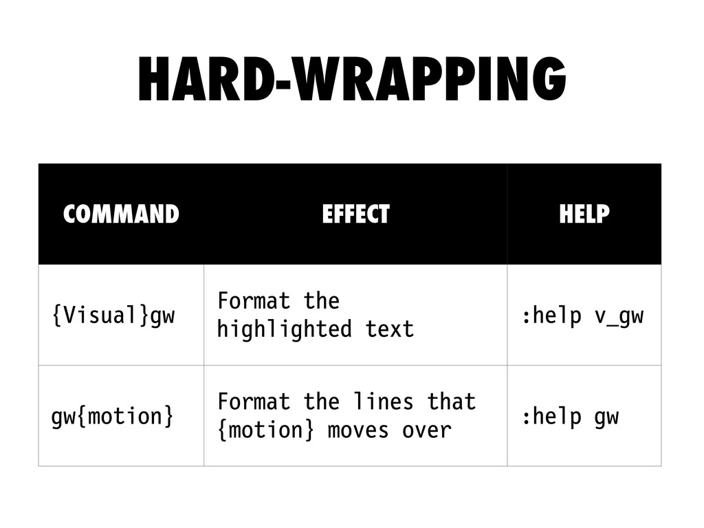 COMMAND EFFECT HELP {Visual}gw Format the highl...