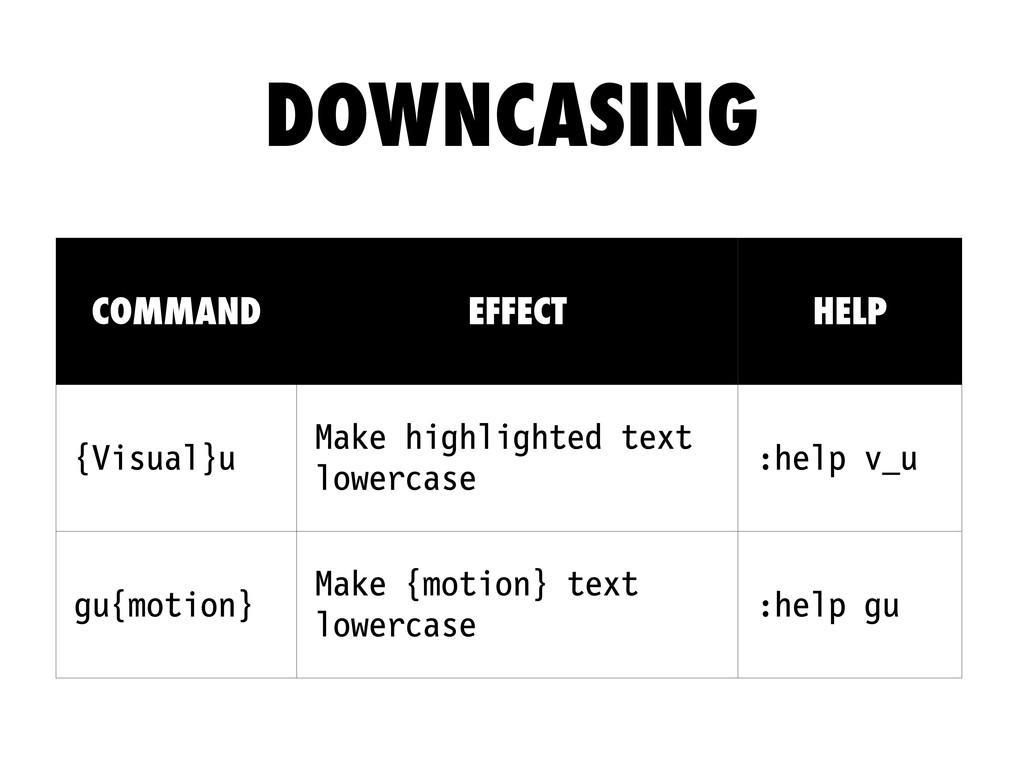 COMMAND EFFECT HELP {Visual}u Make highlighted ...