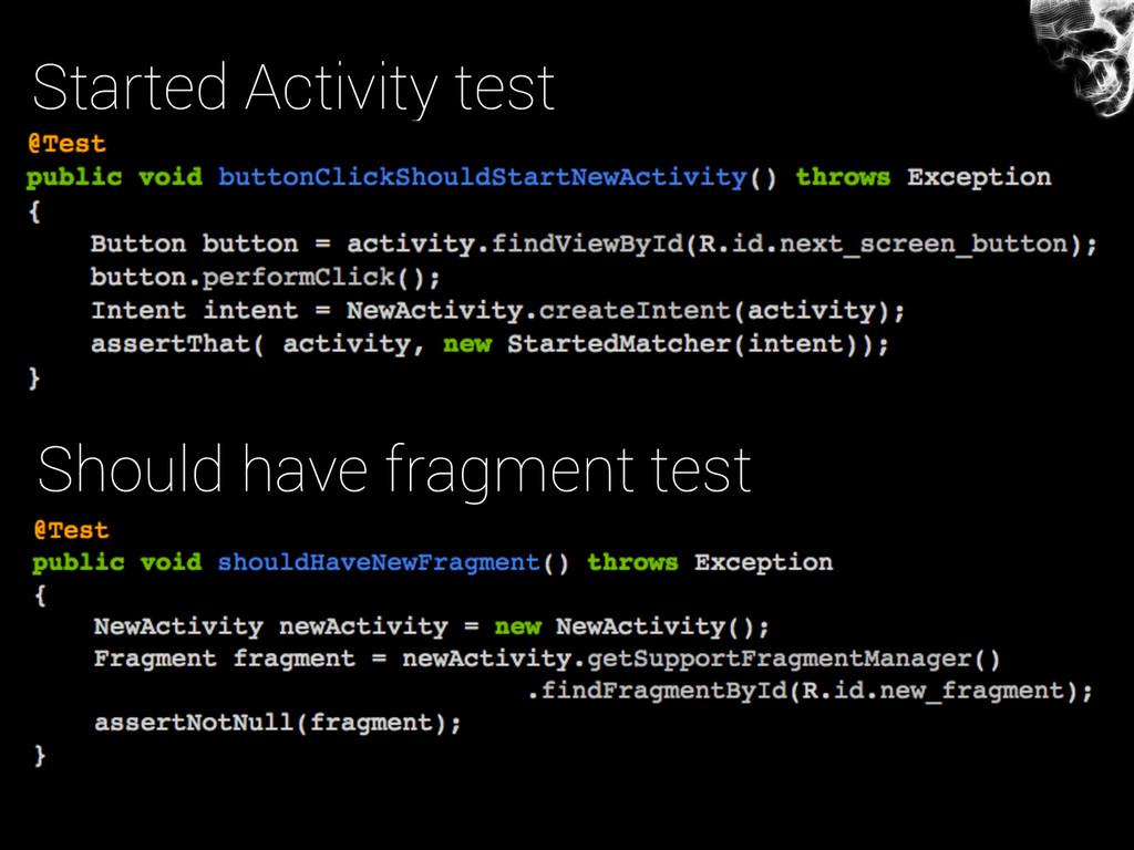 Started Activity test Should have fragment test