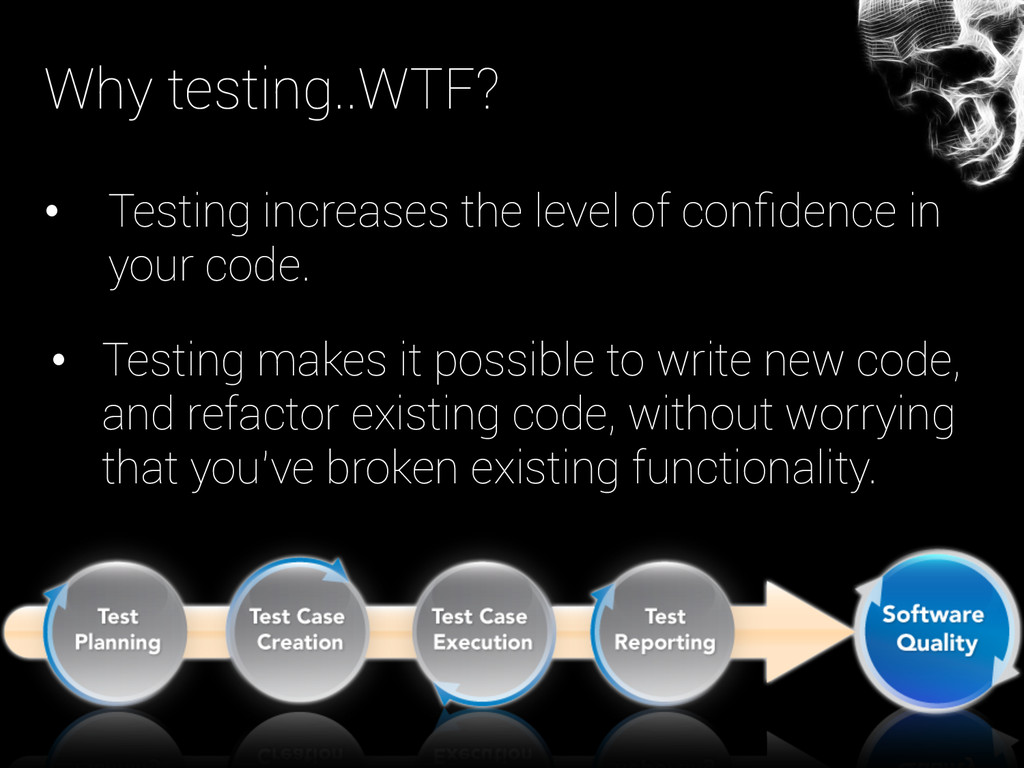 Why testing..WTF? • Testing increases the leve...