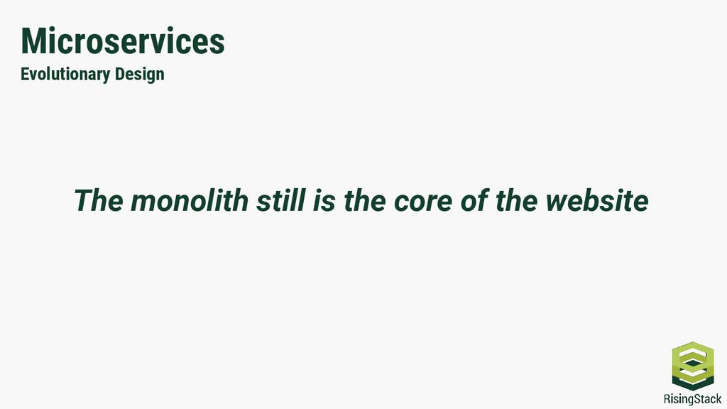 Microservices Evolutionary Design The monolith ...