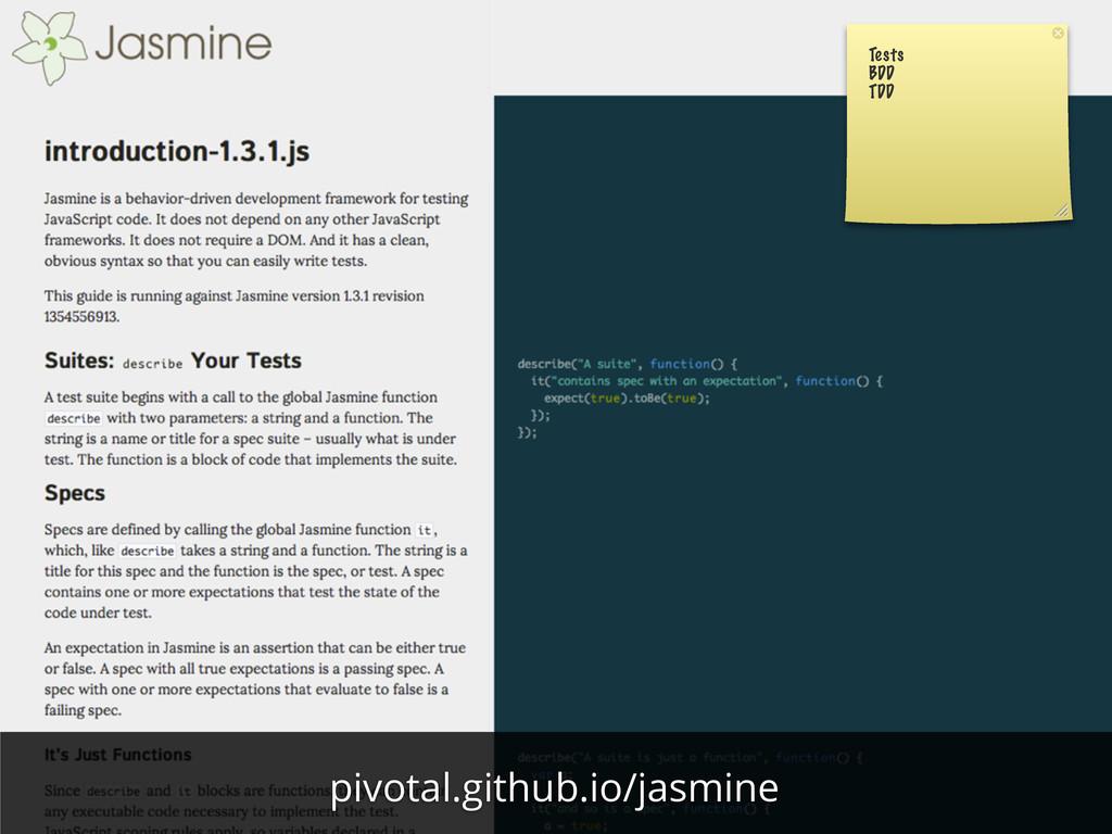 Tests BDD TDD pivotal.github.io/jasmine
