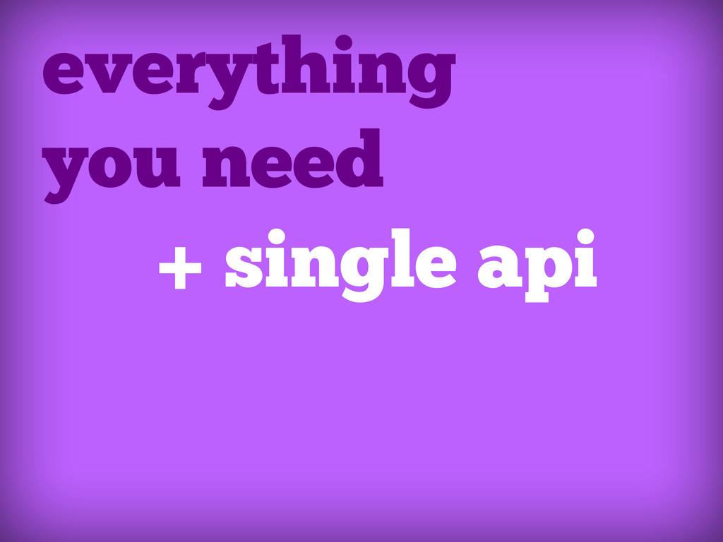 everything you need + single api