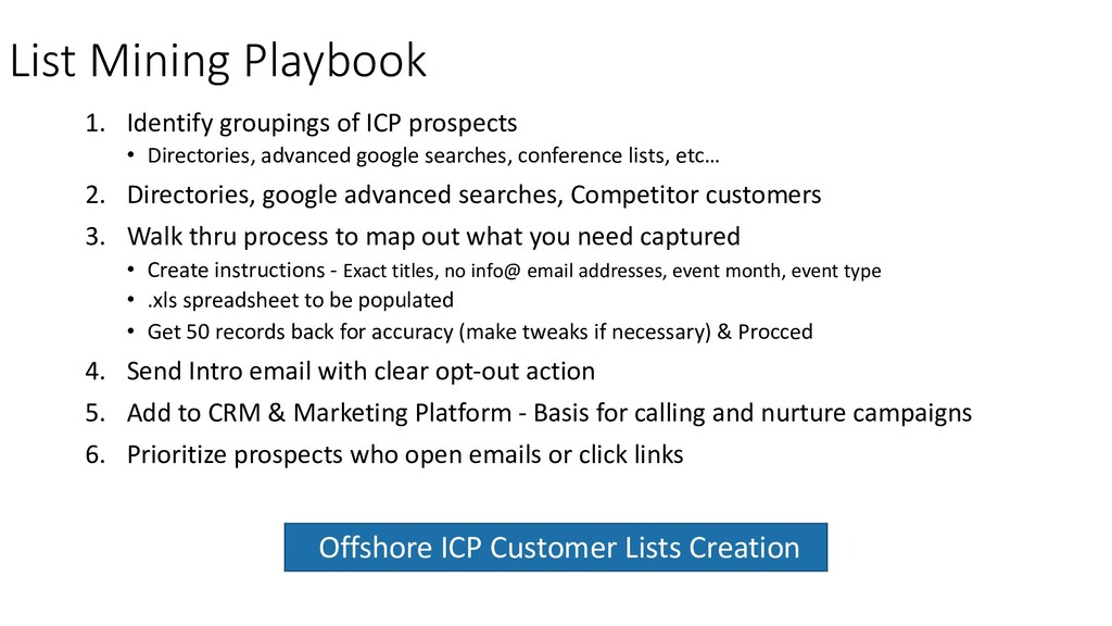 List Mining Playbook 1. Identify groupings of I...