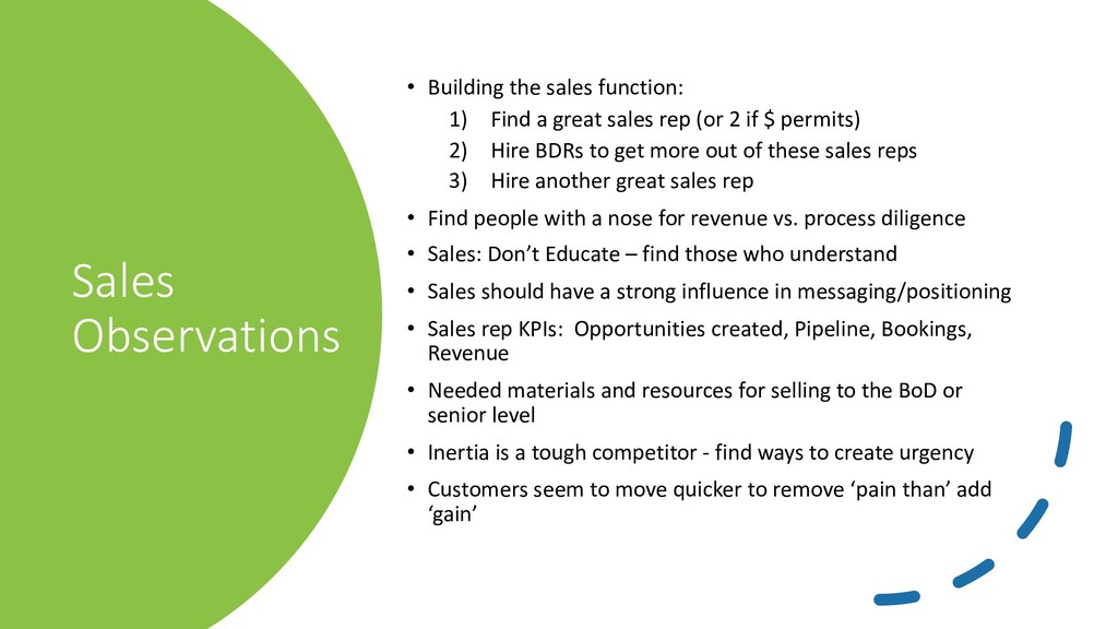 Sales Observations • Building the sales functio...