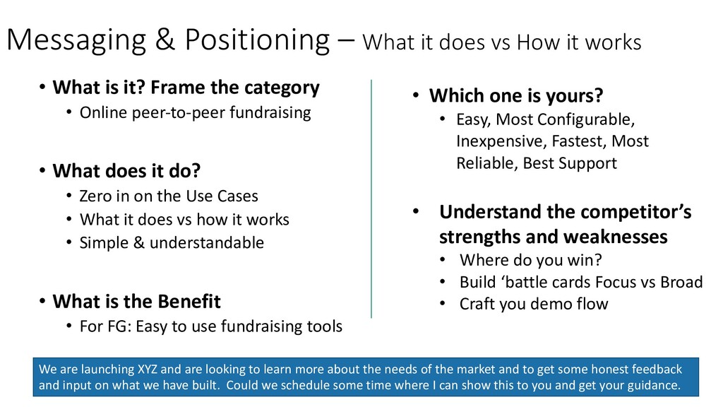 Messaging & Positioning – What it does vs How i...