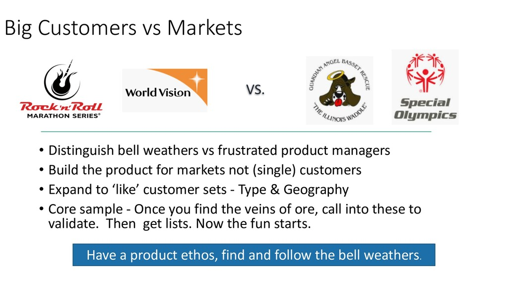 Big Customers vs Markets • Distinguish bell wea...