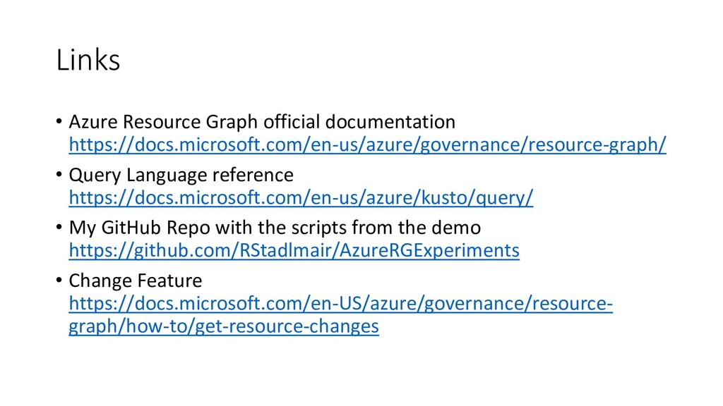 Links • Azure Resource Graph official documenta...