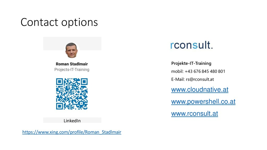 Contact options LinkedIn https://www.xing.com/p...