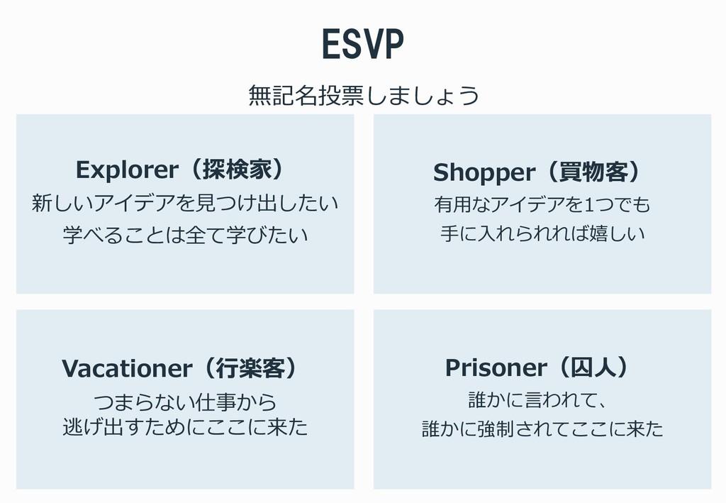 ESVP Explorer(探検家) 新しいアイデアを見つけ出したい 学べることは全て学びたい...