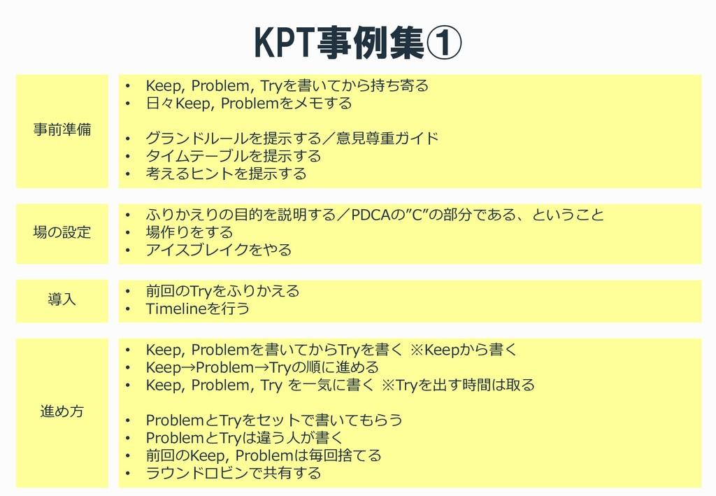 KPT事例集① • Keep, Problem, Tryを書いてから持ち寄る • 日々Keep...