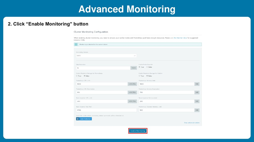 "2. Click ""Enable Monitoring"" button Advanced Mo..."
