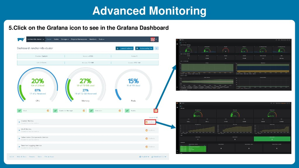 5.Click on the Grafana icon to see in the Grafa...