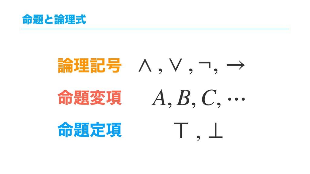 ໋ͱཧࣜ ཧه߸ ໋ม߲ ໋ఆ߲ ∧ , ∨ , ¬, → A, B, C, ⋯ ⊤...
