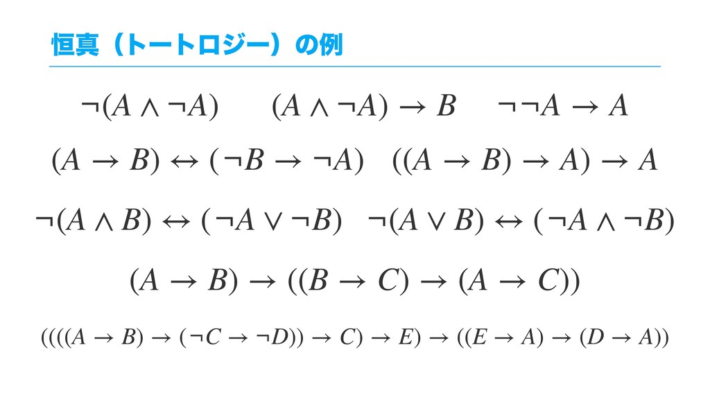 ߃ਅʢτʔτϩδʔʣͷྫ (A → B) → ((B → C) → (A → C)) ((((...