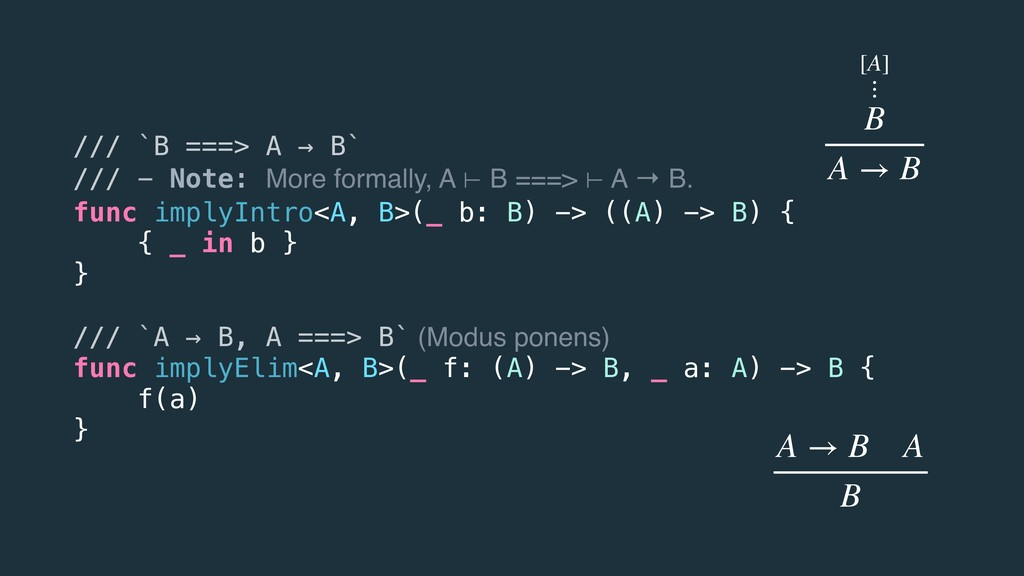 /// `B ===> A → B` /// - Note: More formally, A...