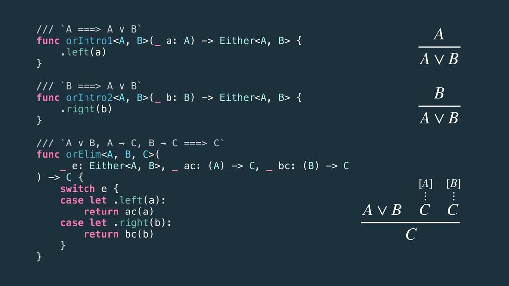 /// `A ===> A ∨ B` func orIntro1<A, B>(_ a: A) ...