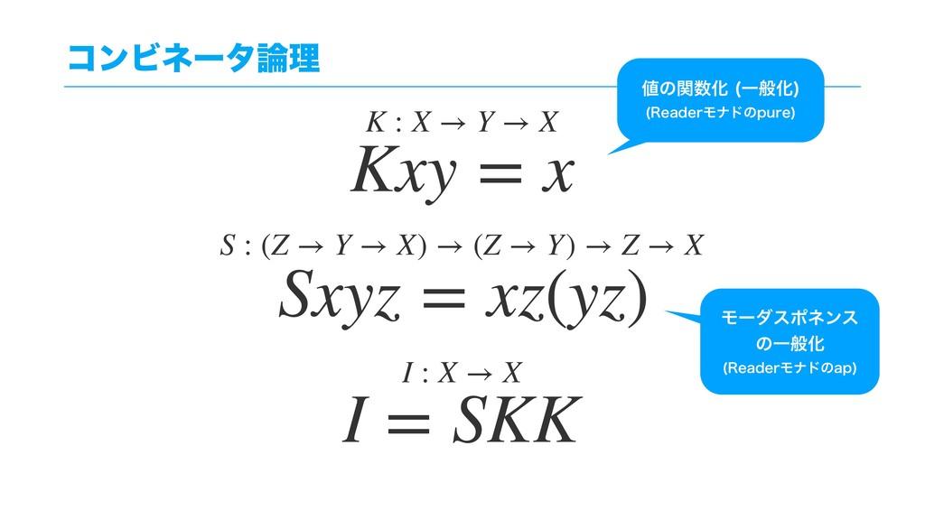 ίϯϏωʔλཧ Kxy = x Sxyz = xz(yz) I = SKK K : X → ...