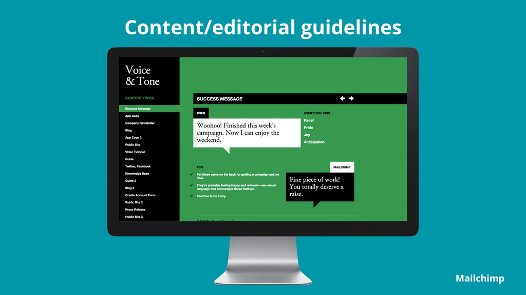 Content/editorial guidelines Mailchimp