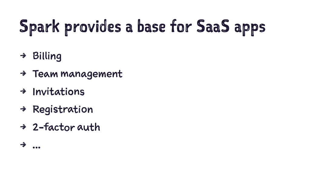Spark provides a base for SaaS apps 4 Billing 4...