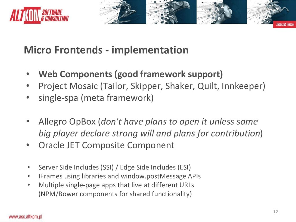 12 Micro Frontends - implementation • Web Compo...