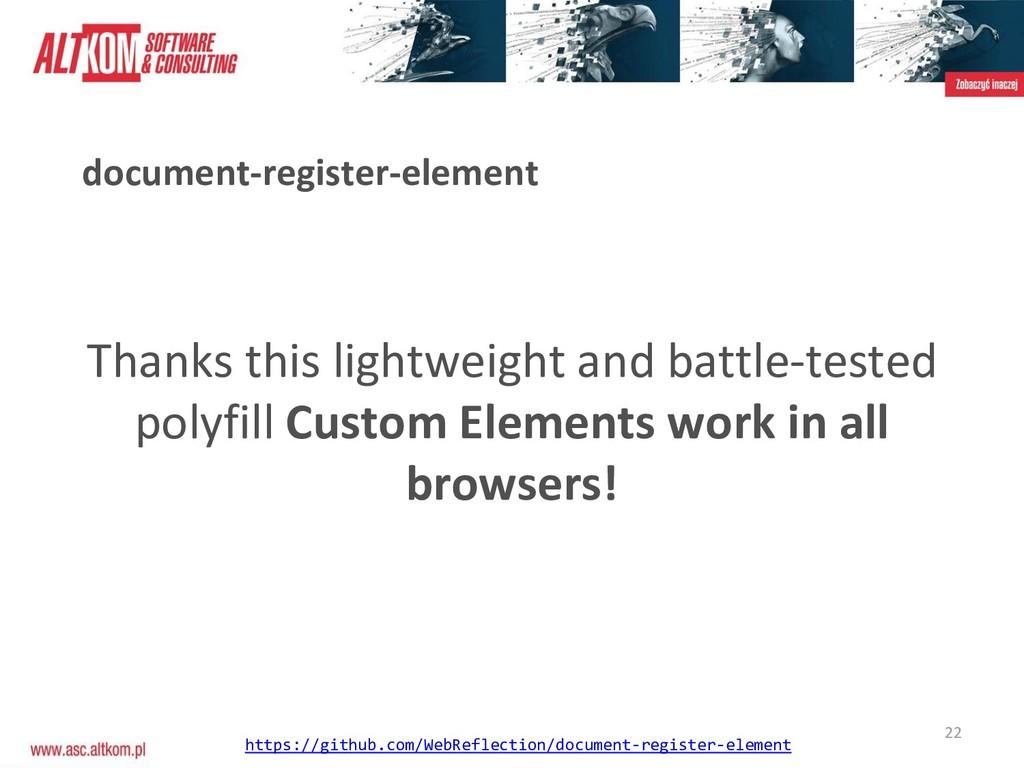 22 document-register-element Thanks this lightw...