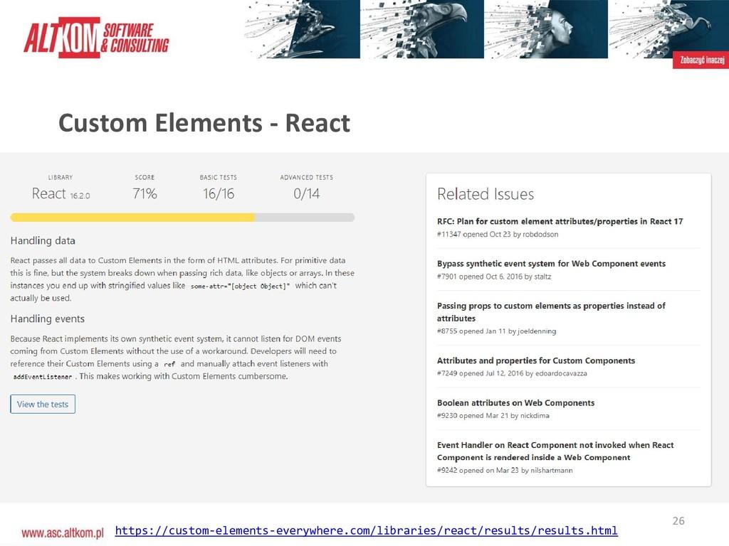 26 Custom Elements - React https://custom-eleme...