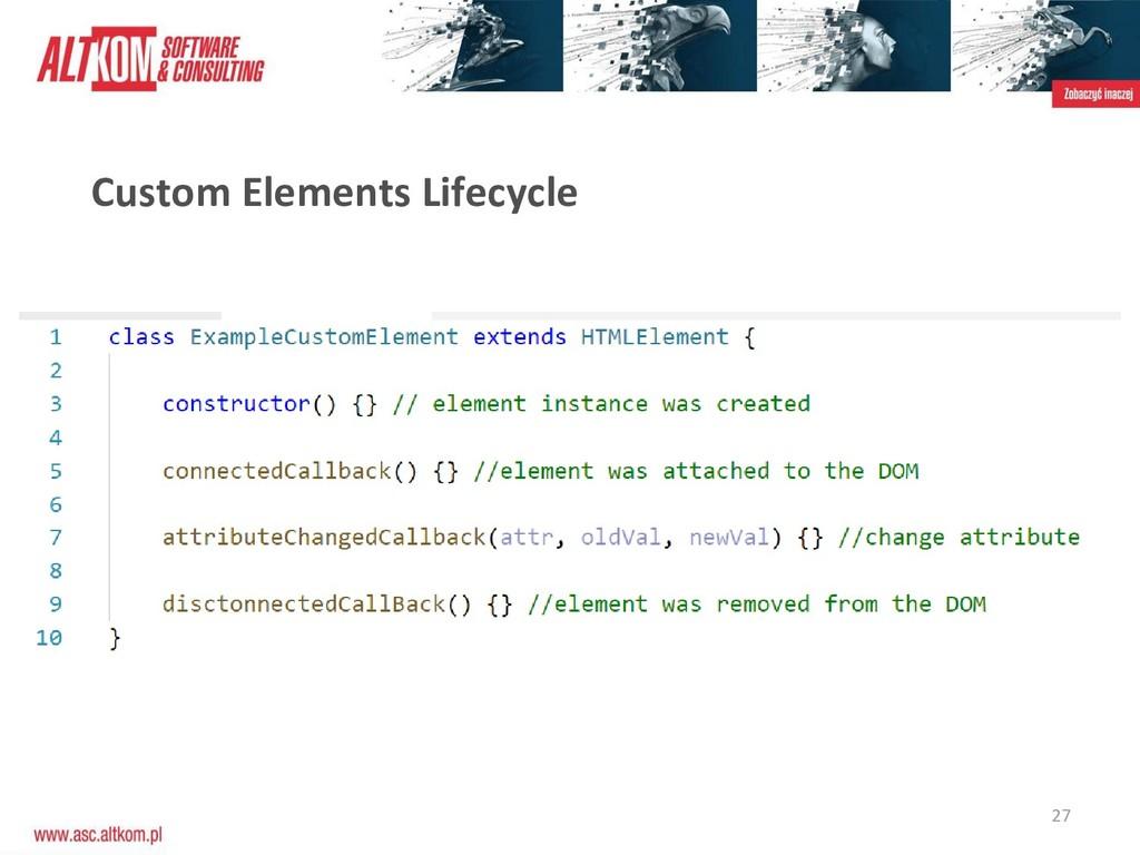 27 Custom Elements Lifecycle
