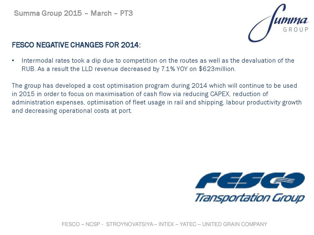 FESCO NEGATIVE CHANGES FOR 2014: Summa Group 20...