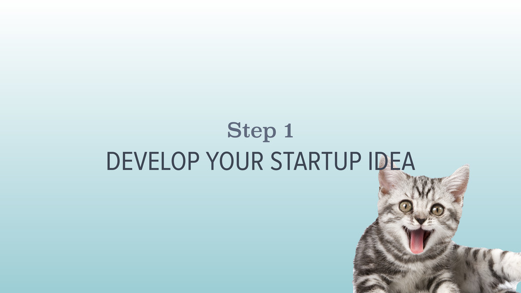 Step 1 DEVELOP YOUR STARTUP IDEA