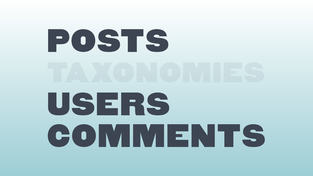 Posts TAXONOMIES users comments