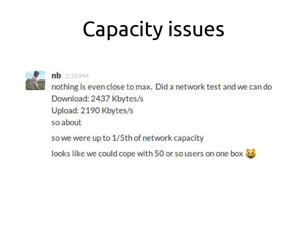 Capacity issues