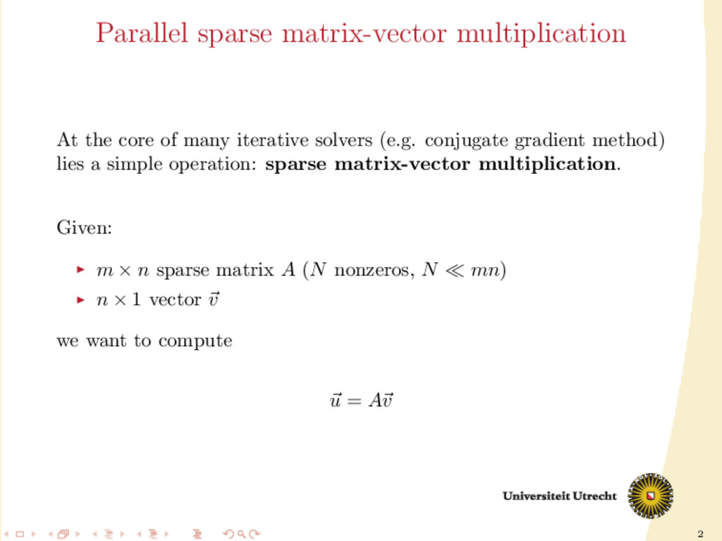 2 Parallel sparse matrix-vector multiplication ...