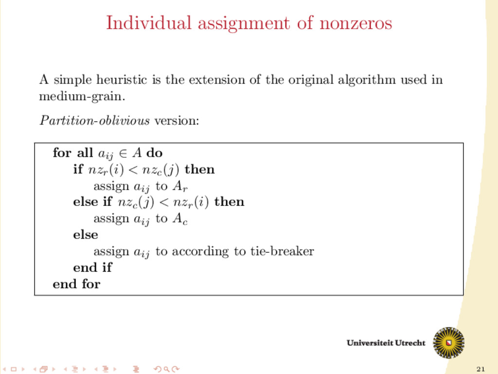 21 Individual assignment of nonzeros A simple h...