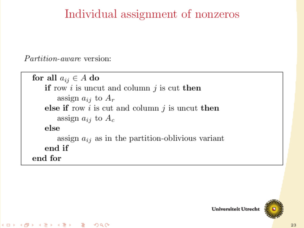 23 Individual assignment of nonzeros Partition-...