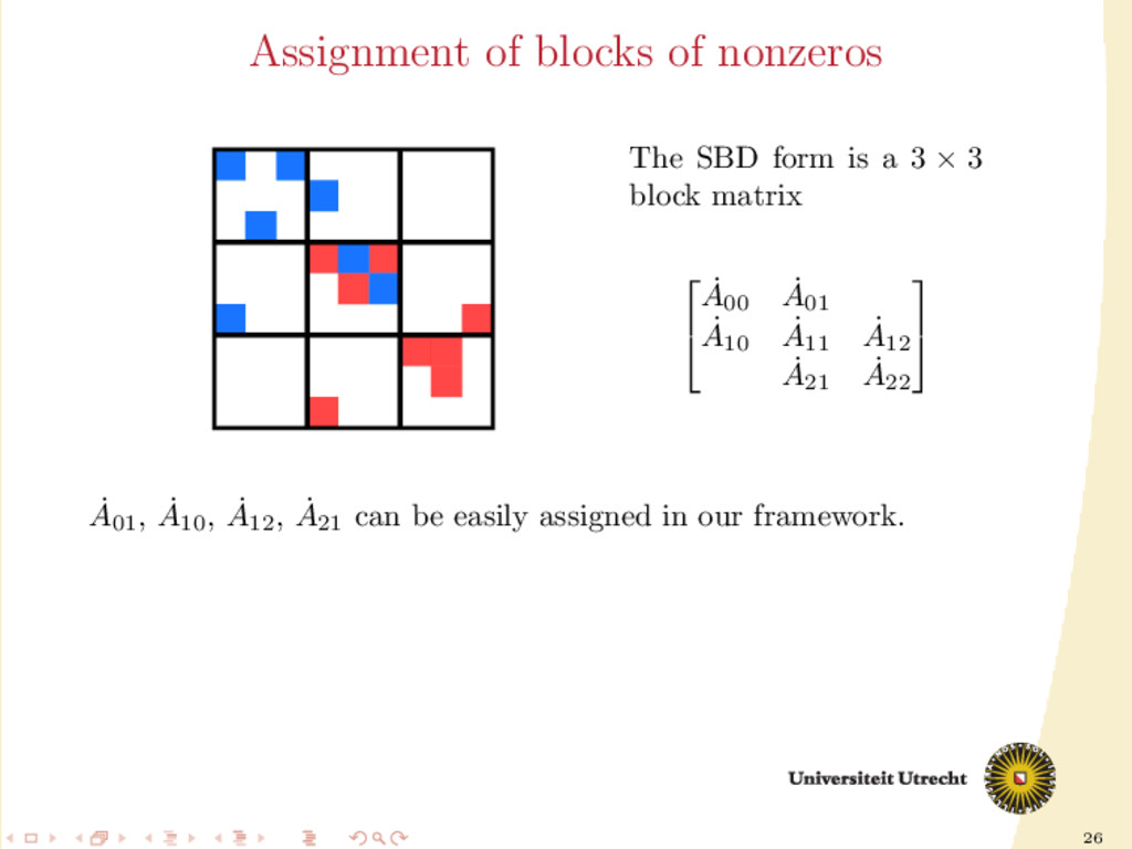 26 Assignment of blocks of nonzeros The SBD for...