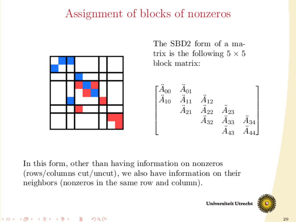 29 Assignment of blocks of nonzeros The SBD2 fo...