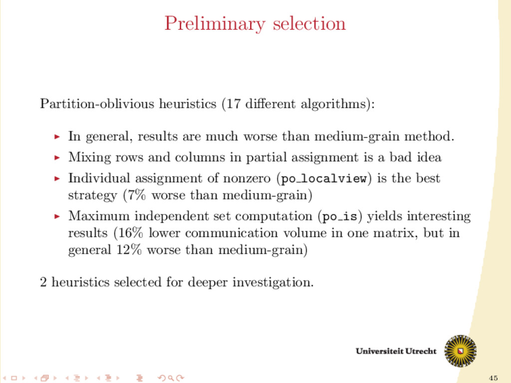 45 Preliminary selection Partition-oblivious he...