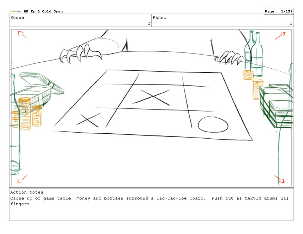 Scene 2 Panel 1 Action Notes Close up of game t...
