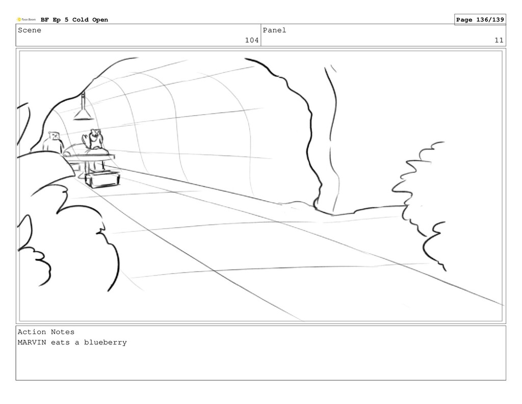 Scene 104 Panel 11 Action Notes MARVIN eats a b...