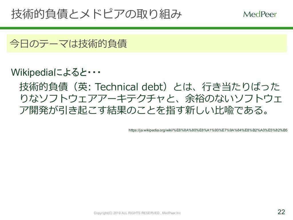 22 技術的負債とメドピアの取り組み 今⽇のテーマは技術的負債 技術的負債(英: Techni...