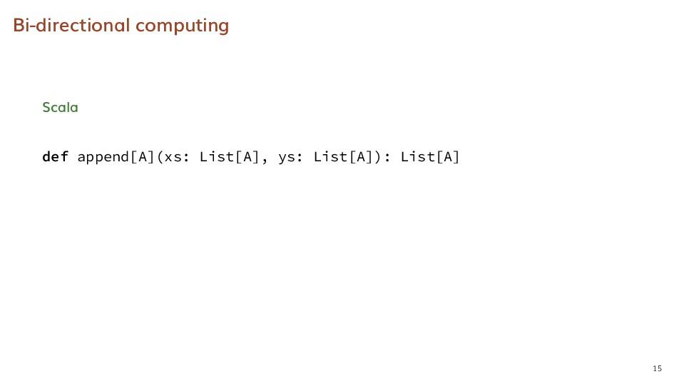 Bi-directional computing Scala def append[A](xs...